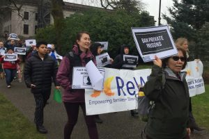 ReWA joined the march in Olympia calling for ban on prisons and use of facial surveillance technology.