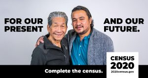 Two men with arms around their shoulders, for Census 2020: for our present and our future