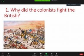 """Why did the colonists fight the British?"" in red ink above a painting of a battle scene from the Revolutionary War."