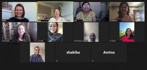 screenshot of volunteers in zoom video call practicing English with ReWA students